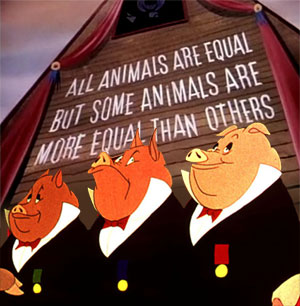 Plaatje uit Animal Farm: All animals are equal, but some animals are more equal