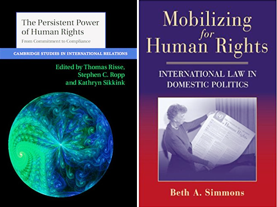 Omslagen van boeken 'The persistent power of human rights' en 'Mobilizing for human rights' van Beth Simmons